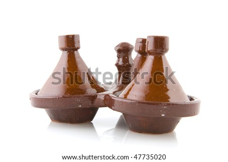 Maroc little Tajine for herbs isolated over white