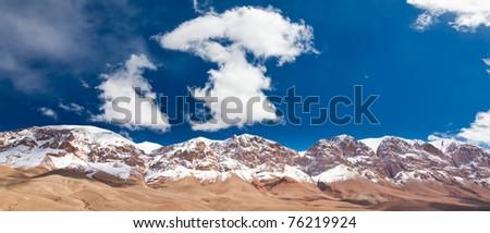 Maroc mountain: snowed High Atlas, Dades Valley. - stock photo