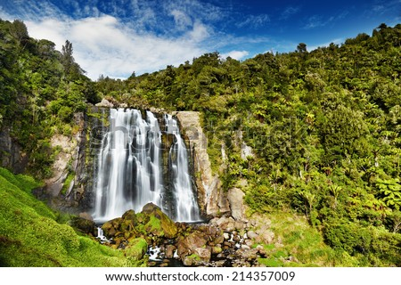 Marokopa Falls, North Island, New Zealand - stock photo