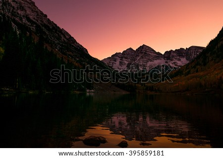 Maroon Bells after Sunset Elk Mountains Aspen Colorado Famous USA landscape - stock photo