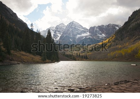 Maroon Bells and Maroon Lake in Aspen Colorado - stock photo
