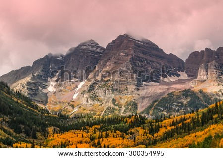 Maroon Bells Aspen Colorado in Fall - stock photo