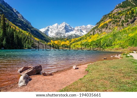 Maroon Bells Autumn Landscape Aspen Colorado - stock photo