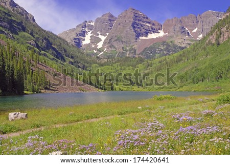 Maroon Bells, Elk Range, Rocky Mountains, Colorado - stock photo