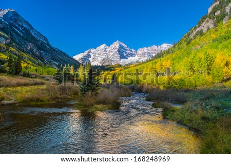 Maroon Bells in Autumn - stock photo