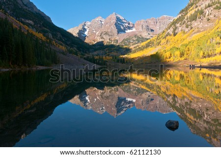 Maroon Bells Reflection - stock photo