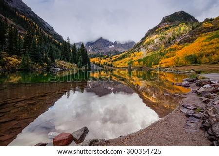 Maroon Bells Reflection in Autumn Aspen Colorado - stock photo