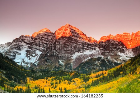 Maroon Bells sunrise, White River National Forest, Colorado - stock photo