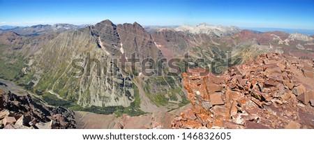 Maroon Bells Wilderness from Summit of Pyramid Peak, Elk Mountains, Colorado - stock photo