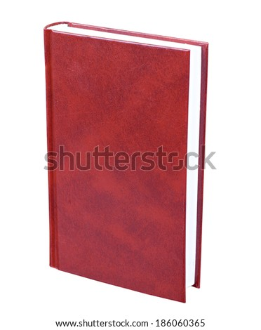 Maroon book with blank hardcover standing isolated on white background