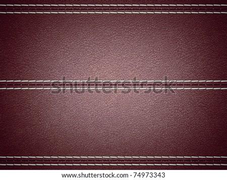 Maroon horizontal stitched leather background. Large resolution - stock photo