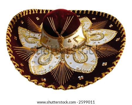 Maroon sombrero isolated on the white background - stock photo