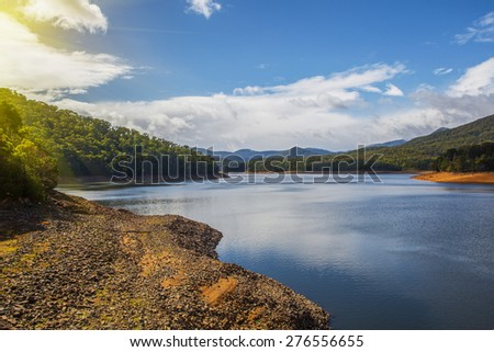 Maroondah Reservoir Lake at sunset , melbourne Victoria. Tranquil settings for a peaciful evening. - stock photo