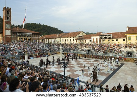 MAROSTICA,ITALY - september 11 : the game of human chess, 11 September,2016, in Marostica,Italy
