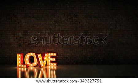 marquee light love letter sign, render 3D - stock photo