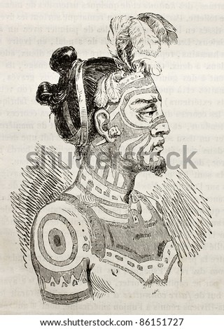 Marquesas islands King old engraved portrait. Created by Krusenstern, published on Magasin Pittoresque, Paris, 1843 - stock photo