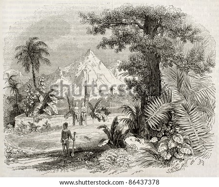 Marquesas Islands old view: Heiau (Hawaian temple) in Nuku Hiva isle. Created by Marville, published on Magasin Pittoresque, Paris, 1843 - stock photo
