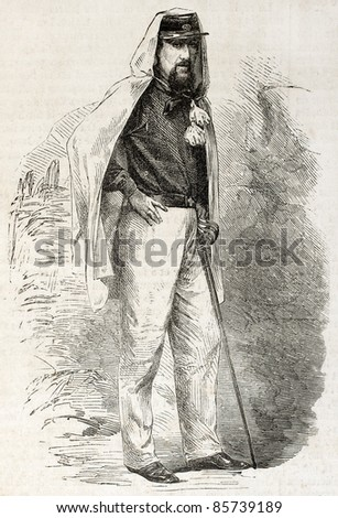 Marquis Gaspere Trecchi old engraved portrait, assistant of Garibaldi. Created by Godefroy-Durand after photo of Duroni and Murer, published on L'Illustration, Journal Universel, Paris, 1860 - stock photo