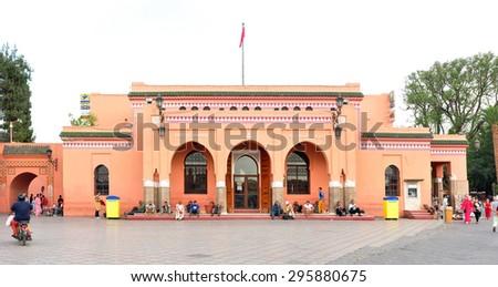 marrakech city morocco Djemaa El-Fna square and post office landmark 05.06.2015 - stock photo