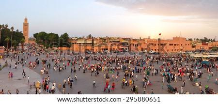 marrakech city morocco Koutoubia Mosque landmark architecture 05.06.2015 - stock photo