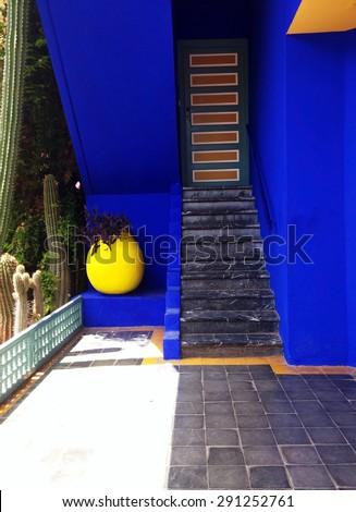 marrakech city morocco Majorelle Garden landmark architecture detail - stock photo