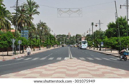 marrakech city morocco street traffic and people editorial 05.06.2015