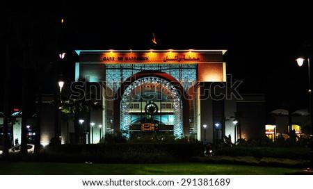 Marrakech city Morocco train station landmark architecture at night - stock photo