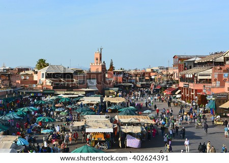 MARRAKECH,MOROCCO - APRIL 16, 2015 : Jemaa el-Fnaa view; This is  the biggest market place in the old city of Marrakech. - stock photo