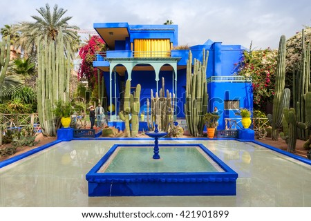 MARRAKECH, MOROCCO - FEBRUARY 22, 2016: The Majorelle Garden is a botanical garden and artist's landscape garden in Marrakech, Morocco. - stock photo