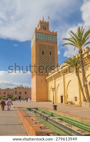 MARRAKESH, MOROCCO, APRIL 3, 2015: Mosque of El Mansour, or Mosque of the Golden Apples is one out of three main mosques in Marrakesh and the largest mosque in the Kasbah area.