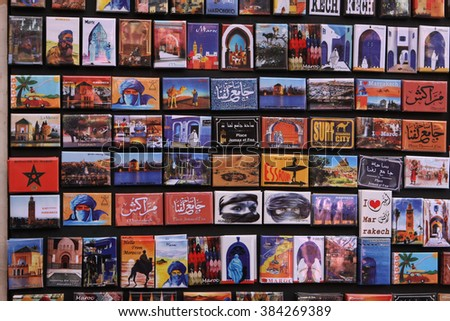 Marrakesh,Morocco-06 April,2012: souvenir fridge magnets for sale representing Moroccan icons