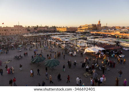 Marrakesh, Morocco. 25-02-2015: Djemaa el Fna - square and market place in Marrakesh's medina quarter - stock photo