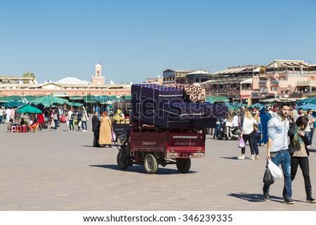 Marrakesh, Morocco - February 25, 2015. Jemaa el Fna Square in Marrakesh, Morocco. The square is part of the UNESCO World Heritage. - stock photo