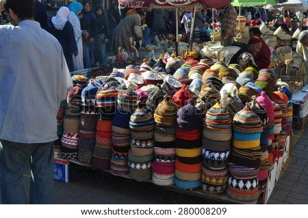 Marrakesh, Morocco - Jan, 02: Colourful fez market stall in the Marrakech souk on January, 02, 2010. Marrakesh, Morocco - stock photo