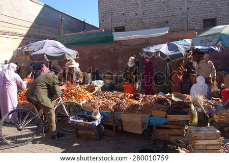 Marrakesh, Morocco - Jan, 02: Various vegetables and fruits at market on January, 02, 2010. Marrakesh, Morocco. - stock photo