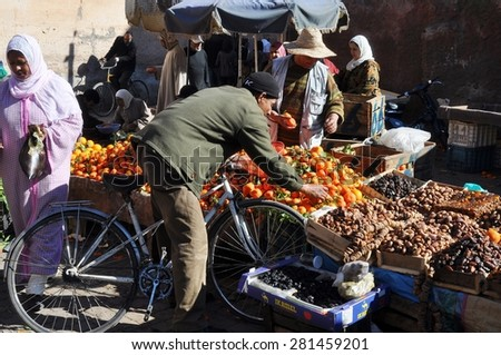 Marrakesh, Morocco - Jan, 02: Various vegetables and fruits at market on January, 02, 2010 in Marrakesh, Morocco. - stock photo