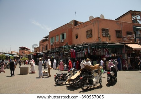 MARRAKESH, MOROCCO - JULY 11: A panoramic view of the Jemaa el Fna square of the Old Town of Marrakesh, Morocco on the 11th July, 2016.