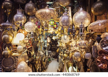 MARRAKESH, MOROCCO, May 8: Group of colored lamps in a craft store in Marrakesh at night in Marrakesh, Morocco on May 8 2016.