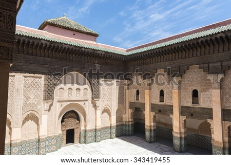 MARRAKESH, MOROCCO - MAY 05: Interior courtyard of the Ben Youssef Medersa on May 05, 2015 in Marrakesh, Morocco. - stock photo
