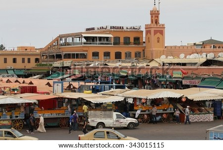 MARRAKESH, MOROCCO - OCTOBER 8: Panoramic view of the Jemaa el Fna Square in Marrakesh, Morocco on the 8th October, 2015. - stock photo