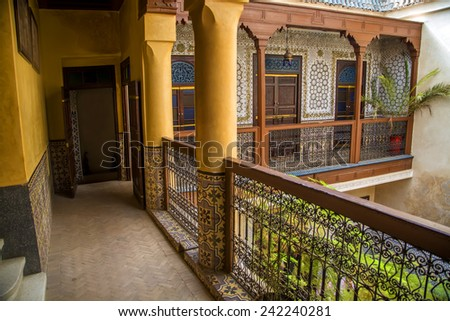 MARRAKESH, MOROCCO - SEPTEMBER 11, 2014: Detail from Riad Amlal in Marrakesh, Morocco. Riad Amlal have authentic decorated rooms and offers a true Moroccan ambiance. - stock photo