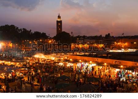 Marrakesh sunset, Morocco - stock photo