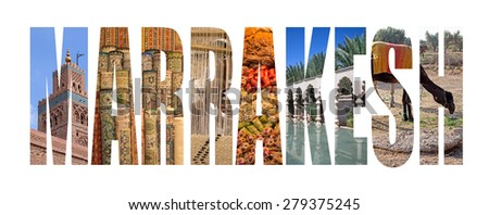 Marrakesh written with landmarks letters - stock photo