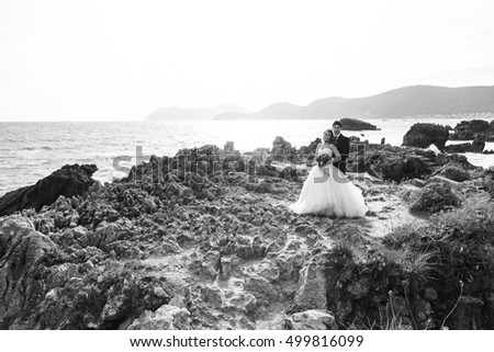 Marriage bridal dresses beach couple in love