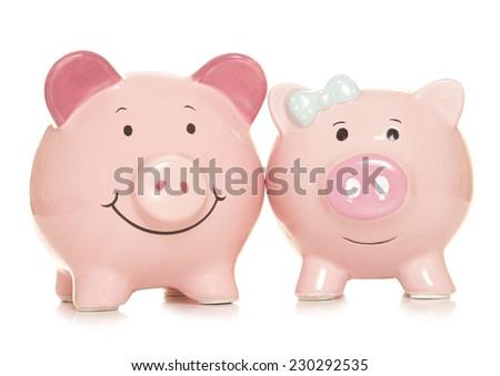 marriage financial benefits piggy banks cutout - stock photo