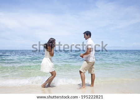 Marriage proposal at the beach