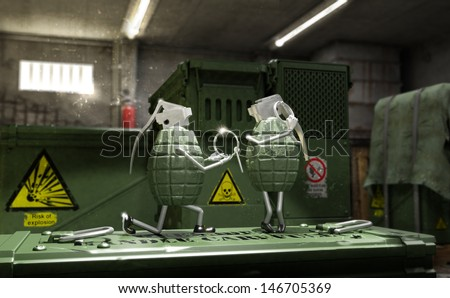 marriage proposal between two grenades with a tragicomic finality; explosive love icon - stock photo