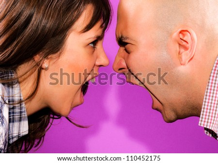 Married couple have conversation - stock photo