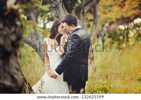 Married Couple in forest embracing - stock photo