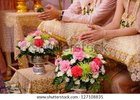 Married in Thai tradition - stock photo